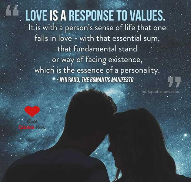 love is a response to values